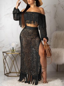 Black Off Shoulder Tassel Cut Out Two Piece Side Slits Sheer Beachwear Party Maxi Dress