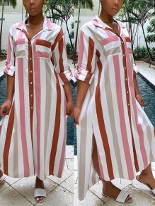 Pink Striped Buttons Pockets Side Slits Casual Beachwer Maxi Dress