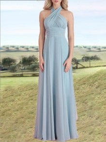 Light Blue Pleated Multiway Fluffy Puffy Tulle Grenadine Prom Evening Party Maxi Bridesmaid Dress