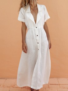 White Single Breasted Slit Deep V-neck Short Sleeve Fashion Maxi Dress