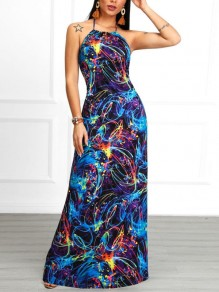 Navy Blue Star Print Halter Neck Draped Backless Prom Evening Party Maxi Dress