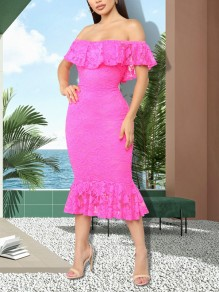 Pink Patchwork Lace Ruffle Off Shoulder Bodycon Mermaid Party Maxi Dress