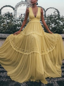 Yellow Lace Pleated V-neck Big Swing Prom Evening Party Red Carpet Maxi Dress