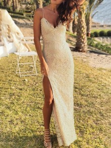 Yellow Lace Thigh High Side Slits Spaghetti Strap Backless Red Carpet Prom Maxi Dress