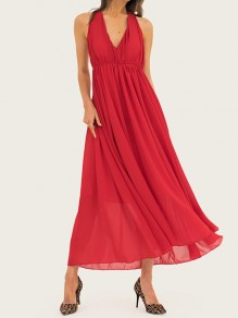 Red Pleated Halter Neck Backless V-neck Chiffon Big Swing Prom Maxi Dress