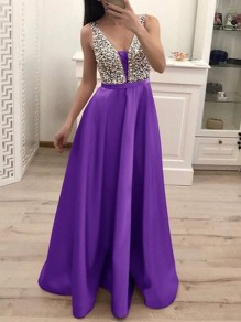 7cb1b4265 Purple Patchwork Sequin Pleated Backless V-neck Sparkly Glitter Birthday  Prom Evening Party Maxi Dress