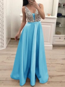 Light Blue Patchwork Sequin Pleated Backless V-neck Sparkly Glitter Birthday Prom Evening Party Maxi Dress
