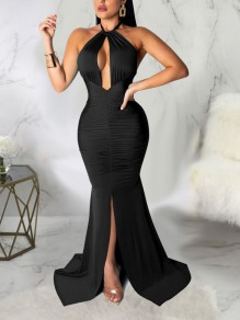 Black Halter Neck Cut Out Pleated Backless Bodycon Mermaid Front Slit Prom Evening Party Maxi Dress