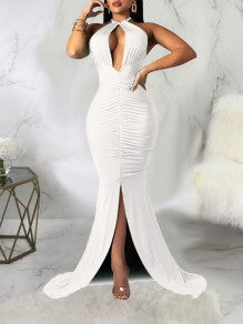 White Halter Neck Cut Out Pleated Backless Bodycon Mermaid Front Slit Prom Evening Party Maxi Dress