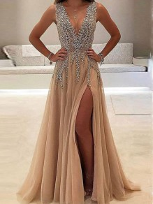 Beige Patchwork Lace Rhinestone Side Slit V-neck Sleeveless Elegant Prom Evening Party Maxi Dress