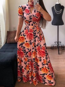 6b6353a056 Pink Red Floral Print Sashes Cut Out Big Swing High Neck Short Sleeve Bohemian  Maxi Dress