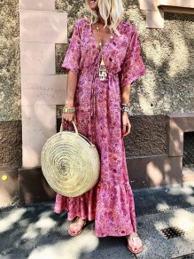 Pink Floral Print Ruffle Drawstring V-neck Short Sleeve Bohemian Maxi Dress