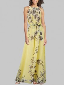 Yellow Flowers Print Sashes Halter Neck Round Neck Sleeveless Bohemian Maxi Dress