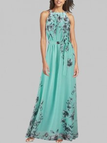 Green Flowers Print Sashes Halter Neck Round Neck Sleeveless Bohemian Maxi Dress