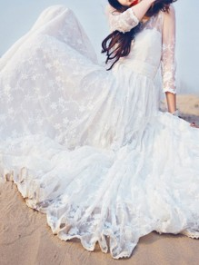 White Lace Embroidery Round Neck Long Sleeve Elegant Maxi Dress