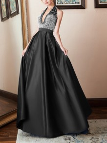 88ef0cfd8ac Black Patchwork Rhinestone Halter Neck Pleated V-neck Prom Evening Party Maxi  Dress