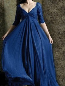 813202fce Blue Patchwork Lace V-neck Layers Of Grenadine Fluffy Puffy Tulle Prom Maxi  Dress