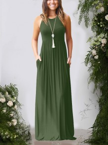 Army Green Pockets Pleated Round Neck Collarless Fashion Casual Women Maxi Dress