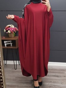 Wine Red Patchwork Sequin Long Sleeve Vintage Maxi Dress