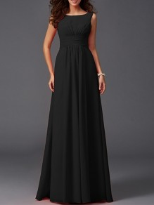Black Patchwork Draped Sleeveless Round Neck Party Chiffon Maxi Dress