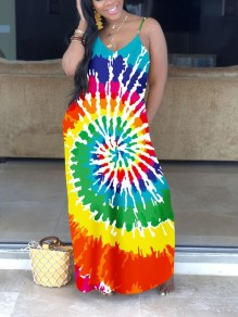 Red Tie Dyeing Spaghetti Strap Pockets V-neck Bohemian Beachwear Party Maxi Dress