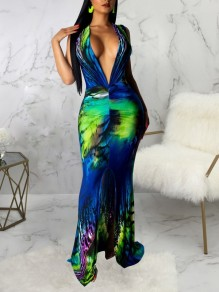 Blue Tie Dyeing Bodycon Mermaid Deep V-neck Prom Evening Party Maxi Dress