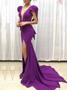 Purple Ruffle Bodycon Mermaid Thigh High Side Slits V-neck Prom Evening Party Maxi Dress