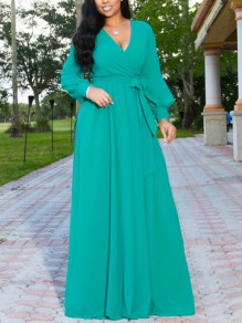 Green Pleated Belt V-neck Long Sleeve Party Maxi Dress