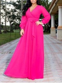Rose Carmine Pleated Belt V-neck Long Sleeve Party Maxi Dress