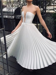 White Bandeau Cut Out Pleated Sleeveless Elegant Maxi Dress
