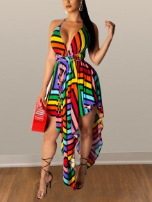 Red Rainbow Striped Spaghetti Strap Irregular V-neck Party Mini Dress