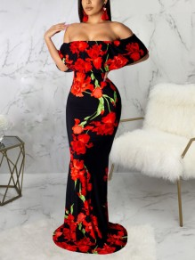 Red Flower Off Shoulder Ruffle Bodycon Mermaid Prom Evening Part Maxi Dress