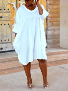 White Cut Out V-neck Long Sleeve Cute Party Maxi Dress