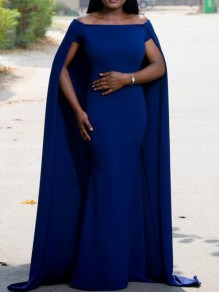 Royal Blue Off Shoulder With Overlay Cape Elegant Wedding Prom Party Maxi Dress