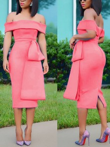 Watermelon Red Off Shoulder Belt Backless Bodycon Elegant Party Maxi Dress