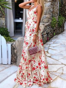 Pink Floral Print Sashes Draped Backless V-neck Elegant Maxi Dress