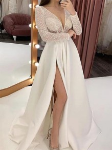 White Patchwork Embroidery Draped Side Slit Deep V-neck Elegant Maxi Dress