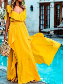 Yellow Ruffle Sashes Draped Backless Side Slit V-neck Bohemian Maxi Dresses