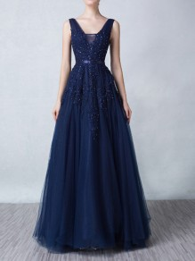 Sapphire Blue Patchwork Appliques V-neck Backless Grenadine Prom Maxi Dress
