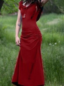 Red Cut Out Back Hoodies Cloak Ruched Vintage Slim Maxi Dress