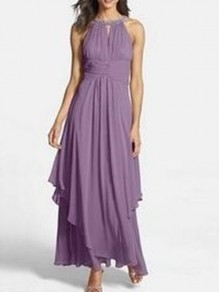 Lavender Purple Irregular Diamond Off Shoulder Big Swing Fashion Prom Evening Party Maxi Dress
