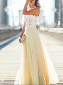 Yellow Patchwork Tulle Lace Round Neck Sleeveless Elegant Party Maxi Dress