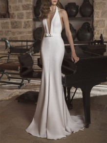 White Bow Sweet Plunging Neckline Cocktail Party Maxi Dress