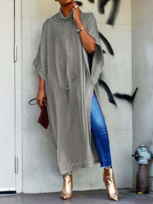 Grey Draped Thigh High Side Slits Dolman Sleeve Plus Size Casual Maxi Dress