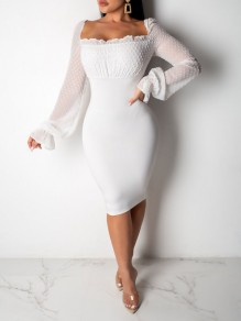 White Patchwork Grenadine Lace-up Bodycon Party Clubwear Maxi Dress