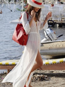 White Single Breasted Chiffon Beach Cover Up Slits On Both Sides Sunscreen Maxi Dress