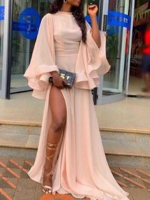 Pink Irregular Ruffle Side Slit Flare Sleeve Wedding Banquet Party Maxi Dress