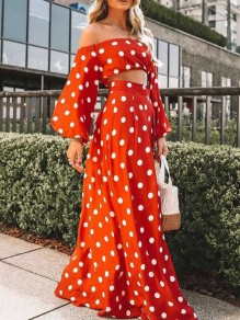 Orange Polka Dot Draped Off Shoulder Lantern Sleeve Flowy Bohemian Maxi Dress
