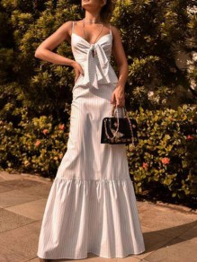 White Striped Ruffle Spaghetti Strap Peplum Mermaid Banquet Party Maxi Dress
