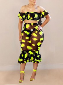 Yellow Leopard Print Off Shoulder Ruffle Bodycon Two Piece Sheer Party Maxi Dress